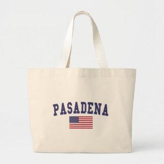 Pasadena CA US Flag Large Tote Bag