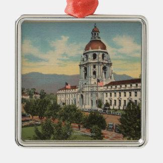 Pasadena, CA - View of City Hall & Public Librar Metal Ornament