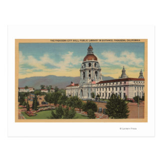 Pasadena, CA - View of City Hall & Public Librar Postcard