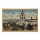 Pasadena, CA - View of City Hall & Public Librar Poster