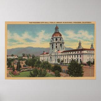 Pasadena CA - View of City Hall Public Librar Print