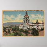 Pasadena, CA - vista ayuntamiento y público Librar Póster