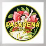 Pasadena California Vintage Luggage Label Print