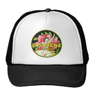 Pasadena California Vintage Luggage Label Trucker Hat