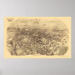 Pasadena, mapa panorámico de CA - 1903 Póster
