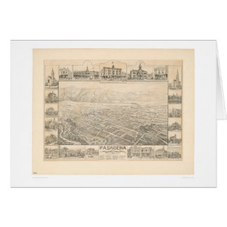 Pasadena, mapa panorámico del CA (1305A) Tarjeta De Felicitación