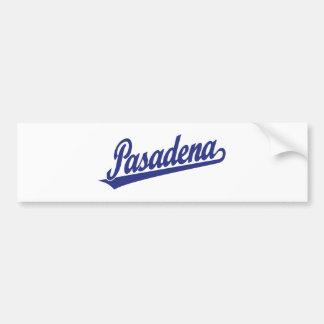 Pasadena script logo in blue bumper sticker