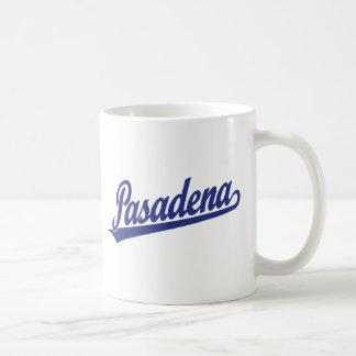 Pasadena script logo in blue coffee mug