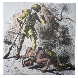 """""""Pasado de los Mohicans"""" por James Fenimore Cooper Azulejo Cuadrado Grande"""