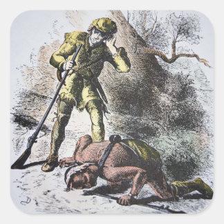 """""""Pasado de los Mohicans"""" por James Fenimore Cooper Pegatina Cuadrada"""