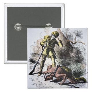 """""""Pasado de los Mohicans"""" por James Fenimore Cooper Pin Cuadrado"""