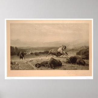 Pasado del búfalo Bierstadt (0137A) - restaurado Póster