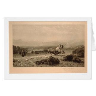 Pasado del búfalo Bierstadt (0137A) - restaurado Tarjeta De Felicitación