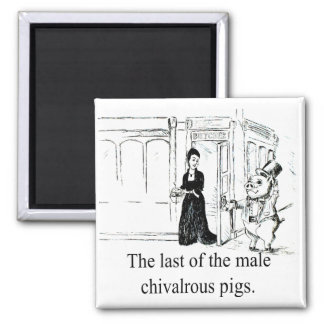 Pasado del Cerdo-Imán caballeroso masculino Imán Cuadrado