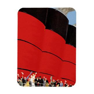 Pasajeros del barco de cruceros del vintage que iman