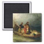 Pasajeros emigrantes a bordo, 1851 imán cuadrado
