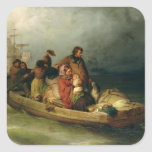 Pasajeros emigrantes a bordo, 1851 pegatina cuadrada