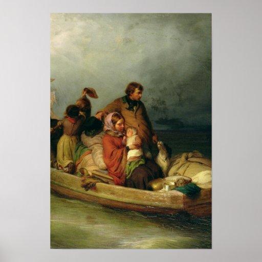 Pasajeros emigrantes a bordo, 1851 póster
