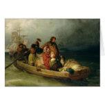 Pasajeros emigrantes a bordo, 1851 tarjeta de felicitación