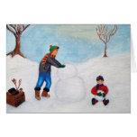 Pasando un día de la nieve junto tarjeta de felicitación