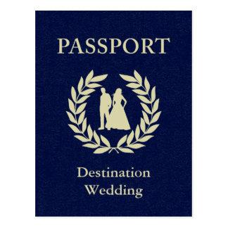 pasaporte del boda del destino tarjeta postal