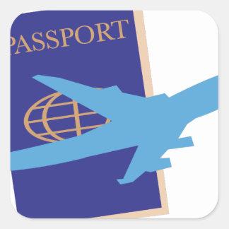 Pasaporte Pegatina Cuadrada