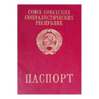 Pasaporte soviético tarjetas de visita grandes