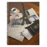 Pasaporte y objetos de recuerdo libretas espirales