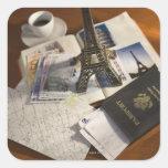 Pasaporte y objetos de recuerdo pegatina cuadrada