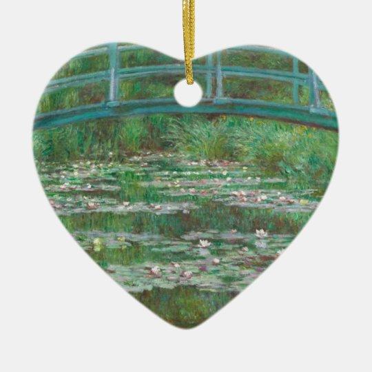 Pasarela del japonés de Monet- Adorno Navideño De Cerámica En Forma De Corazón