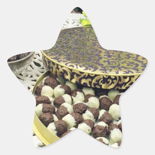 Pasas sumergidas chocolate pegatina en forma de estrella