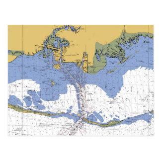 Pascagoula,Mississippi Nautical Chart Postcard