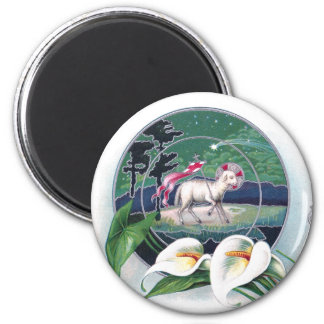 Paschal Lamb and White Lilies Vintage Easter 2 Inch Round Magnet