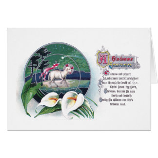 Paschal Lamb And White Lilies Vintage Easter Card