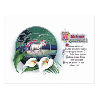 Paschal Lamb and White Lilies Vintage Easter Postcards