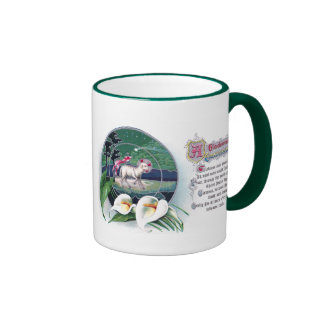 Paschal Lamb and White Lilies Vintage Easter Ringer Mug