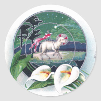 Paschal Lamb and White Lilies Vintage Easter Sticker