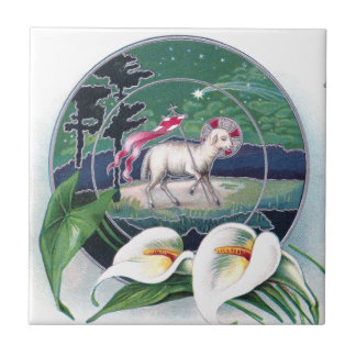 Paschal Lamb and White Lilies Vintage Easter Tile