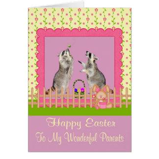Pascua a la tarjeta de felicitación de los padres