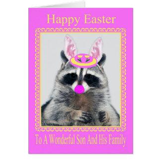 Pascua al hijo y a su tarjeta de felicitación de l