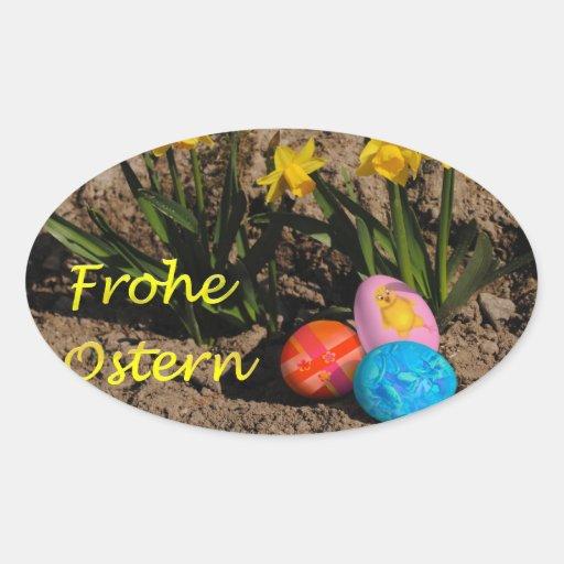 Pascua alegres pegatina ovalada