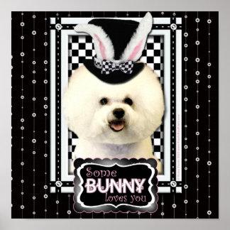 Pascua - algún conejito le ama - Bichon Frise Impresiones