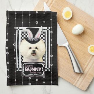 Pascua - algún conejito le ama - Bichon Frise Toallas