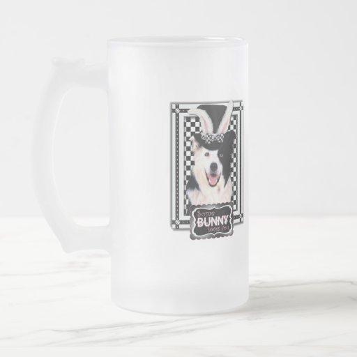Pascua - algún conejito le ama - border collie taza cristal mate