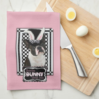 Pascua - algún conejito le ama - Boston Terrier Toalla
