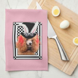 Pascua - algún conejito le ama - caniche - rojo toallas