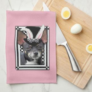 Pascua - algún conejito le ama - chihuahua toallas de mano