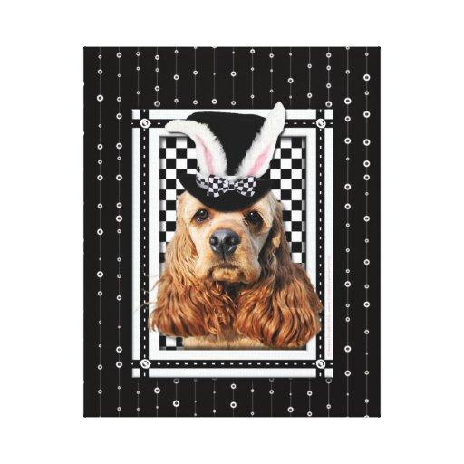Pascua - algún conejito le ama - cocker spaniel lona envuelta para galerias