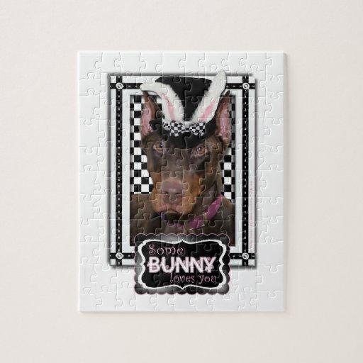 Pascua - algún conejito le ama - Doberman Rompecabezas
