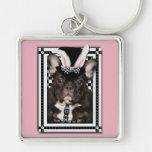 Pascua - algún conejito le ama - dogo francés llaveros personalizados